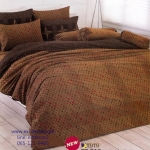 ชุดผ้าปูที่นอน ปลอกหมอน toto ผ้าห่มนวม toto (ชุดเครื่องนอนลายลายจุดสีน้ำตาล)