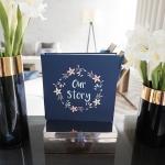 """อัลบั้ม 100 รูป (4x6"""") พร้อมส่ง ใส่ข้อความ Our Story ลาย Flower Frame - Navy"""