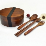 (พรีออเดอร์) กล่องข้าวไม้ กล่องข้าวญีปุ่น เบนโตะ กล่องห่ออาหารกลางวัน ไม้แท้ ลายสวย ปลอดภัย ทรงรี ชั้นเดียว สีไม้โอ๊ค