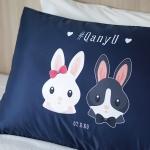 ปลอกหมอนหนุนคู่ พิมพ์ลายเต็มผืน Navy - Couple Rabbit