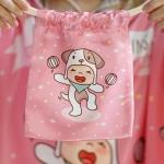 ถุงผ้าซาติน ลาย Puppy - Pink