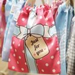 ถุงผ้าซาติน ลายของขวัญ สีชมพู - Pink Gift