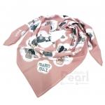 ผ้าพันคอสั่งทำใส่ชื่อ ลาย Japanese Dolls - Vintage Pink