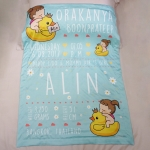 ผ้าห่มเด็ก ใส่ประวัติแรกเกิด ลาย Ducky and Baby Girl - Mint