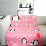 ผ้าห่ม ใส่ประวัติแรกเกิด ลายเพนกวิ้น สีชมพู ไซส์ใหญ่ 100x150cm / Penguin - Pink