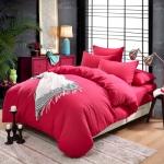 (Pre-order) ชุดผ้าปูที่นอน ปลอกหมอน ปลอกผ้าห่ม ผ้าคลุมเตียง ผ้าฝ้าย สีพื้น สีกุหลาบ