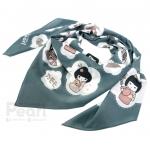 ผ้าพันคอสั่งทำใส่ชื่อ ลาย Japanese Dolls - Midnight Green