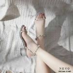 รองเท้าส้นตัน Style Valentino (สีเทา)