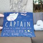 ผ้าห่มเด็ก ใส่ประวัติแรกเกิด ลาย Plane - Navy