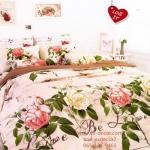ชุดผ้าปูที่นอน ปลอกหมอน ผ้าห่มนวม หมอนข้าง TOTO ลายดอกไม้ ลายดอกกุหลาบ