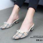 รองเท้าเปิดส้น Style Burberry (สีครีม)