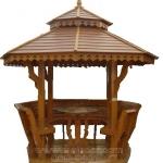 ศาลาทรงไทย ทรงแปดเหลี่ยม หลังคาสองชั้น มีพนักพิงและม้านั่งสามด้าน ไม้เนื้อแข็งรวม ศาลาไม้สำหรับนั่งเล่นในสวน