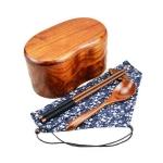 (พรีออเดอร์) กล่องข้าวไม้ กล่องข้าวญีปุ่น เบนโตะ กล่องห่ออาหารกลางวัน ไม้แท้ ลายสวย ปลอดภัย ทรงเม็ดถั่ว สองชั้น สีโอ๊ค
