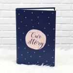 """อัลบั้ม 300 รูป (4x6"""") พร้อมส่ง ใส่ข้อความ Our Story ลาย Watercolour Dot - Navy"""