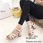 รองเท้าส้นตัน Style YSl (สีครีม)