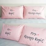 ปลอกหมอนหนุนคู่ Mr.&Mrs. Right - Pink