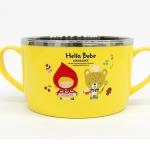 Pre-Order ถ้วยอาหารเด็ก 2 ชั้น ชั้นนอกทำจากพลาสติกและชั้นในทำจากสแตนเลส มีหูจับสองข้าง สีเหลือง