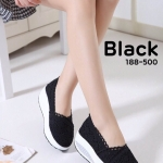 รองเท้าลูกไม้สวมส้นทรง Sport (สีดำ)