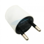 "Adapter USB Charger ""REMAX"" (หัวกลม, ขากลม) White"