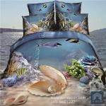 (Pre-order) ชุดผ้าปูที่นอน ปลอกหมอน ปลอกผ้าห่ม ผ้าคลุมเตียง ผ้าฝ้ายพิมพ์ 3D รูปสัตว์ทะเล