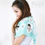 ผ้าพันคอสั่งทำใส่ชื่อ ลาย Japanese Dolls - Mint