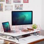 (Pre-order) โต๊ะยืนทำงานปรับระดับไฮดรอลิกซ์ โต๊ะคอมพิวเตอร์ปรับระดับ โต๊ะทำงานคอมพิวเตอร์มืออาชีพ สไตล์โมเดิร์น สีขาว
