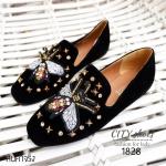 รองเท้าคัทชูส้นแบนปักผึ้ง Style Gucci (สีดำ)