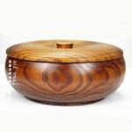 (พรีออเดอร์) กล่องข้าวไม้ กล่องข้าวญีปุ่น เบนโตะ กล่องห่ออาหารกลางวัน ไม้แท้ ลายสวย ปลอดภัย ทรงกลม ชั้นเดียว สีโอ๊ค