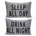ปลอกหมอนหนุนคู่ Sleep & Drink สีเทา
