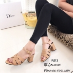 รองเท้าส้นตัน Style YSl (สีแทน)