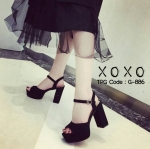รองเท้าส้นตึกรัดข้อเปิดหน้าเท้า (สีดำ)