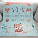 ผ้าห่มเด็ก สั่งทำใส่ชื่อ ลาย Fox - Mint