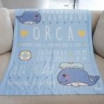 ผ้าห่มเด็ก ใส่ประวัติแรกเกิด ลายวาฬ สีฟ้า / Whale - Blue