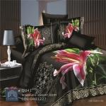 (Pre-order) ชุดผ้าปูที่นอน ปลอกหมอน ปลอกผ้าห่ม ผ้าคลุมเตียง ผ้าฝ้ายพิมพ์ 3D รูปดอกลิลลี่ พื้นสีดำ