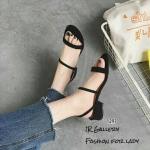 รองเท้าส้นเตี้ยสไตล์ลำลอง (สีดำ)