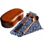 (พรีออเดอร์) กล่องข้าวไม้ กล่องข้าวญีปุ่น เบนโตะ กล่องห่ออาหารกลางวัน ไม้แท้ ลายสวย ปลอดภัย ทรงเม็ดถั่ว ชั้นเดียว สีโอ๊ค