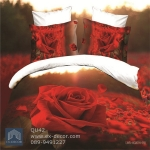 (Pre-order) ชุดผ้าปูที่นอน ปลอกหมอน ปลอกผ้าห่ม ผ้าคลุมเตียง ผ้าฝ้ายพิมพ์ 3D รูปกุหลาบแดง สีแดง