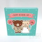อัลบั้ม 100 รูป Happy Wedding Day ลายหมีคู่ สีมิ้นต์