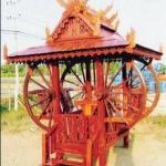 ศาลาทรงไทย ทรงล้อเกวียน หลังคาสองชั้น มีพนักพิงและม้านั่งสามด้าน ไม้เนื้อแข็งรวม ศาลาไม้สำหรับนั่งเล่นในสวน