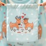 ถุงผ้าซาติน ลายกวางคู่ สีมิ้นต์ - Couple Deer / Mint