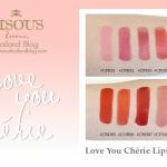 **พร้อมส่ง**Bisous Bisous Love You Cherie Lipstick ใหม่! ลิปสติกเนื้อครีมเนียนนุ่มให้ลุคแมตต์ มอบสีสันสดสวยด้วยเม็ดสีคมชัดติดทนนาน โดยไม่ตกร่อง พร้อมคุณค่าการบำรุง ช่วยให้ริมฝีปากเรียบเนียน ไร้ริ้วรอย ตึงกระชับ และช่วยต่อต้านอนุมูลอิสระ ลดความหมองคล้ำของร