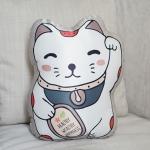 หมอนของขวัญพร้อมส่ง Maneki-neko (lucky cat) - Grey