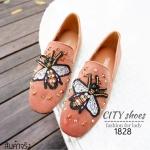 รองเท้าคัทชูส้นแบนปักผึ้ง Style Gucci (สีชมพู)
