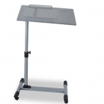 Pre-order โต๊ะวางแล็ปท้อป วางโน้ตบุ๊ค วางแท็บเล็ต วางมือถือ โต๊ะพรีเซนต์งาน ปรับระดับ ปรับองศา มีล้อเลื่อน สีเงิน