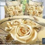 (Pre-order) ชุดผ้าปูที่นอน ปลอกหมอน ปลอกผ้าห่ม ผ้าคลุมเตียง ผ้าฝ้ายพิมพ์ 3D รูปกุหลาบทอง