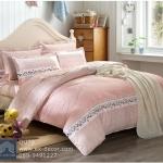 (Pre-order) ชุดผ้าปูที่นอน ปลอกหมอน ปลอกผ้าห่ม ผ้าคลุมเตียง ผ้าฝ้ายพิมพ์ลายจุดโทนสีชมพู