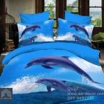 (Pre-order) ชุดผ้าปูที่นอน ปลอกหมอน ปลอกผ้าห่ม ผ้าคลุมเตียง ผ้าฝ้ายพิมพ์ 3D รูปปลาโลมา สีน้ำทะเล