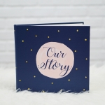 """อัลบั้ม 100 รูป (4x6"""") พร้อมส่ง ใส่ข้อความ Our Story ลาย Watercolour Dot - Navy"""