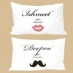 ปลอกหมอนหนุนคู่ลาย Lips & Moustache II