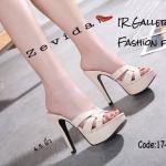 รองเท้าส้นสูง Style YSl เปิดส้น (สีครีม)